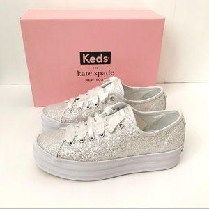 New! Keds x Kate Spade Platform Glitter Sneakers 8